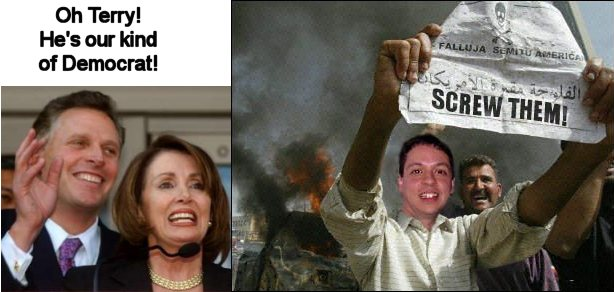 Markos Moulitsas Zúniga and friends McAuliffe and Pelosi